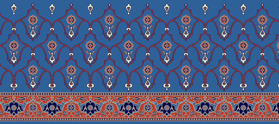 Safli Cami Halisi Model 1210 - Mavi