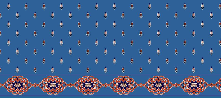 Safli Cami Halisi Model 1240 - Mavi